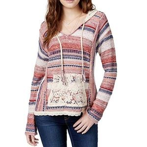 American Rag Juniors' Lace Hood Pullover Sweater